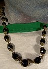 CZECH FRENCH JET GLASS & BRASS NECKLACE c1920s