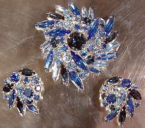 Quality BLUE RHINESTONE PIN & EARRINGS