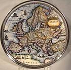 KURT HAMMER PORCELAIN MAP TRIVET TRAY w/ 835 SILVER RIM