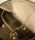 Stylish Gold Filled CULTURED PEARLS NECKLACE c1950