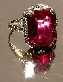 14K ART DECO WHITE GOLD SYNTHETIC RUBY FILIGREE RING