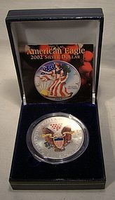 2002 AMERICAN EAGLE PAINTED .999 SILVER COIN IN CASE