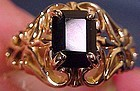 Fancy 14K ONYX OPENWORK RING c1950s