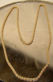 10K YELLOW GOLD ROPE CHAIN NECKLACE c1970s