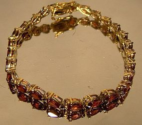 Fine GILT STERLING BRACELET with TEARDROP GARNETS