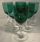 Set of 6 CUT CRYSTAL TEAL GLASS WINE GLASSES c1890