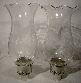 Pair STERLING & ETCHED GLASS HURRICANE CANDLE INSERTS