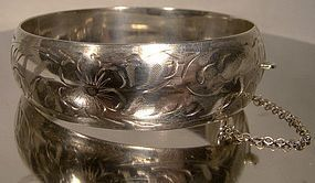 Signed BIRKS Hand Engraved STERLING BANGLE BRACELET