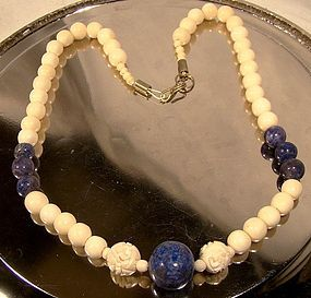 Carved Sodalite And Carved Bone Bead Necklace C1930 50 Item 1249634