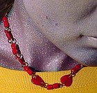 CHERRY RED CELLULOID HEARTS CHOKER NECKLACE c1930s