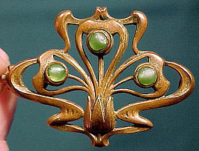 ART NOUVEAU BRASS & FAUX MOONSTONE BROOCH c1900