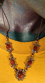 Vintage STAR-ART GF GOLDSTONE & R/S NECKLACE
