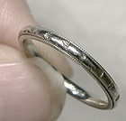 19K White Gold Wedding Band Art Deco Ring c1920s