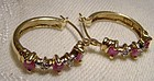 10K Yellow Gold Rubies and Diamonds Hoop Earrings 1980s