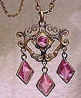 Edwardian PINK CRYSTAL PENDANT NECKLACE c1910