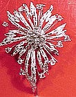Cool STERLING CRYSTAL TEXTURED FLOWER PIN c1950s