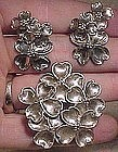 LANG STERLING Dogwood Flowers PIN & EARRINGS SET