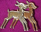 Sterling BABY DEER PIN with ROSE GOLD WASH c1940