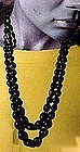 BLACK SATIN GLASS BEAD DOUBLE STRAND NECKLACE c1920s
