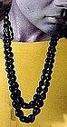 BLACK SATIN GLASS BEAD DOUBLE STRAND NECKLACE c1920s