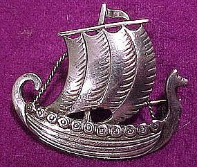 JUST ANDERSEN STERLING SHIP BROOCH