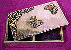Victorian SP STAMP BOX w/ APPLIED BUTTERFLIES c1880-90