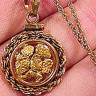 Real GOLD NUGGETS PENDANT on CHAIN c1900