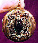 EDWARDIAN GILT PHOTO LOCKET with GREEN STONE c1910-20