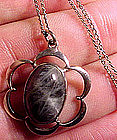 Sterling LABRADORITE PENDANT and CHAIN c1940s