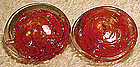 Vintage RED MURANO GLASS CLIP-ON EARRINGS c1950