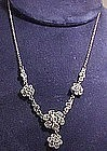 ANTHONY STERLING & RHINESTONE SAUTOIR NECKLACE c1940s
