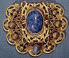 Ornate CZECH GP FILIGREE & BLUE GLASS DRESS CLIP c1910