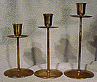 Set of 3 LARS KNUDSEN DANISH MODERN BRASS CANDLESTICKS