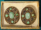 CHINESE JADE GILT SILVER EARRINGS c1920s-30