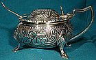 Ornate BARKER ELLIS SP FOOTED MUSTARD POT w/ SPOON