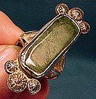 NAVAJO STERLING NEPHRITE JADE RING c1960s