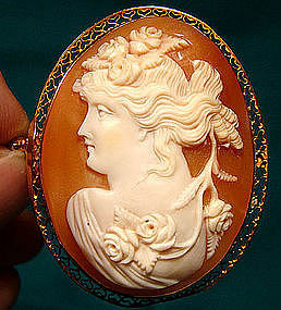 10K CHLORIS FLORA CAMEO with FILIGREE EDGE c1910-20