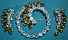 Signed B DAVID GREEN BLUE RHINESTONE PIN & EARRINGS