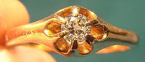 Edwardian 14K FLOWER STYLE DIAMOND RING c1900-10