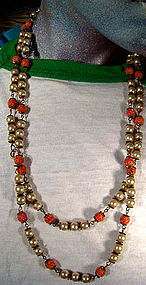 DECO MOLDED CORAL GLASS PEARLS FLAPPER NECKLACE c1930s