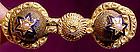 Ornate 15K ENAMEL & PEARL BARBELL PIN c1860-70