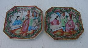 C. 1875 PAIR ROSE MEDALLION 8-SIDED DISHES,BUTTER
