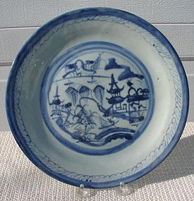 C. 1890 CHINESE EXPORT BLUE CANTON PLATE 10""