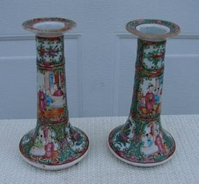 C. 1880 PAIR ROSE MEDALLION CANDLE STICKS 8 1/2