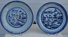 C. 1900 CHINESE EXPORT BLUE CANTON DINNER PLATES