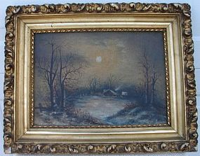 C. 1902 AMERICAN FOLK ART MOONLIT LANDSCAPE PAINTING