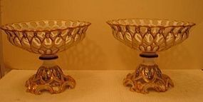C. 1820 FRENCH OLD PARIS PAIR OF GILDED COMPOTES