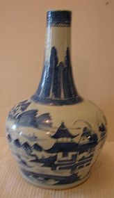 C. 1820 CHINESE EXPORT BLUE CANTON  WATER BOTTLE