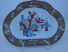 C. 1820 CHINESE EXPORT ROSE MANDARIN KIDNEY DISH