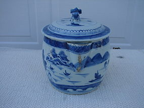 C. 1820 CHINESE EXPORT BLUE CANTON CIDER JUG W/COVER